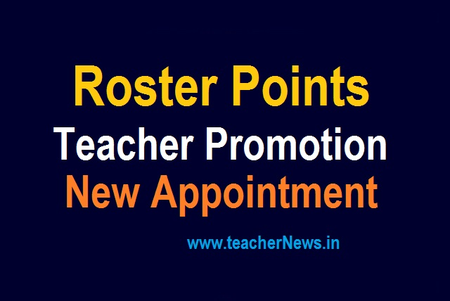 Roster Points in Promotion Appointments for AP TS States Teachers, DSC 2021