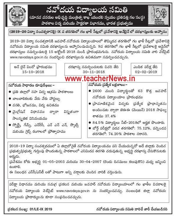Navodaya Invited online applications for admission to vacant seats in Class 9