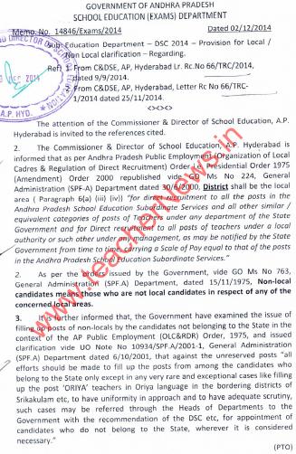 AP Govt. Clarification of Non local & Local Candidates in AP Recruitment