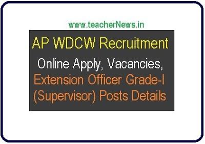 AP WDCW Recruitment 2019 – Online Apply 109 Extension Officer Grade-I (Supervisor) Posts
