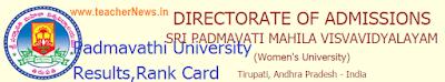 Padmavathi University Results 2019 - SPMVV PGCET Rank Card, MA/ M.Sc Selection list