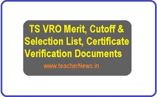 TS VRO Merit, Cutoff & Selection List of Certificate Verification Documents