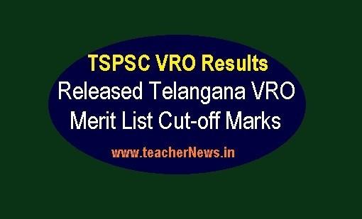TSPSC VRO Results 2018 Released Telangana VRO Merit List Cut-off Marks @ tspsc.gov.in