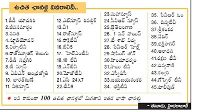 Telugu TV Channels New Rates - TRAI New Cost for DTH and Cable Operators Details 1