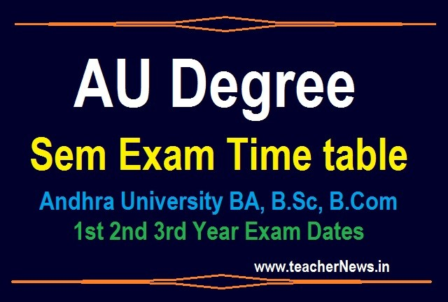 AU Degree Exam Timetable (Revised) 2020 - Andhra University BA, B.Sc, B.Com 1st 2nd 3rd Year Exam Dates 2020