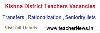 DEO Krishna District SGT / SA/ LP PET / HM Promotion Seniority list, Vacancies list 2020