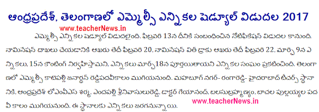 AP Telangana MLC Election 2019 Notification Schedule, Polling Date, Counting Date