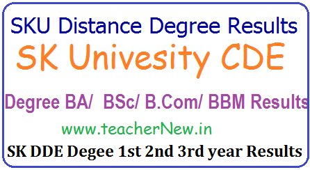SK University Distance Degree Results, SKU DDE/ CDE Degree 1st/ 2nd/ 3rd year Years Results for BA B.Sc. B.com BCA BBM, BCA, BBA Results