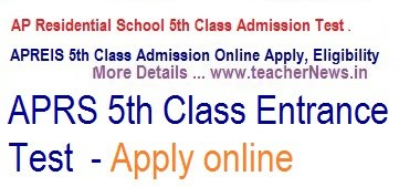 AP Residential 5th Class Admission Online Apply 2019  | APREIS Notification @aprjdc.apcfss.in