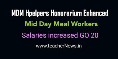 MDM Helpers honorarium enhance honorarium from 1000 to 3000 rupees GO 20