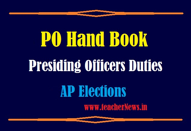 PO Hand Book Elections 2021 in Telugu | Duties of Presiding Officers