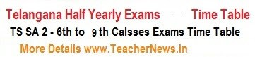 TS SA 2 Exams Time Table 2019 SA II Exam Dates for 6th to 9th Class in Telangana