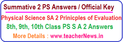 AP SA 2 PS Answers Summative 2 Physical Science Key Sheet Official Principles of Evaluation