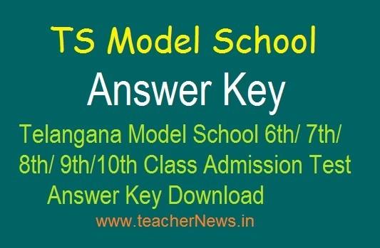 TS Model School 6th Answer key released | TSMS 7th/ 8th/ 9th/ 10th Class Answer key 18th April, 2019
