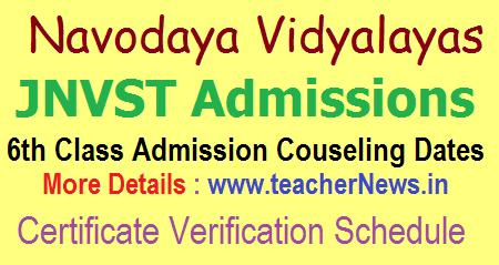 Navodaya 6th Counselling Dates 2020 Navodaya Certificates Verification Schedule 2020