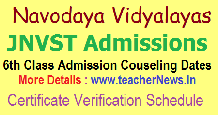Navodaya 6th Counselling Dates 2020 Navodaya Certificates Verification Schedule 2020