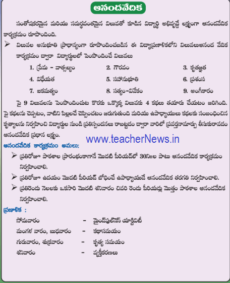 Ananda Vedika 1st period Activities Every Day