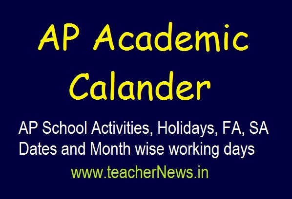 AP School Activities, Holidays, FA, SA Dates and Month wise working days 2019-20