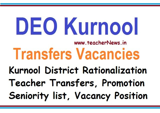 DEO Kurnool District Transfers Vacancies, Promotion SGT/ SA / LP/ HM/ PET Seniority list, Teachers Salaries, ZPPF Annual Slips