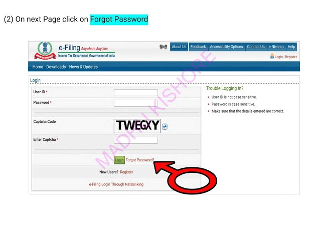Income Tax e filling Password Reset Process 7