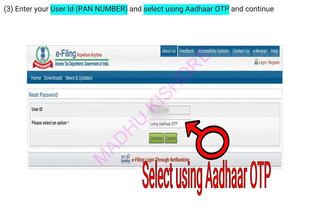 Income Tax e filling Password Reset Process 5