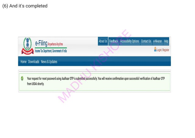 Income Tax e filling Password Reset Process 2