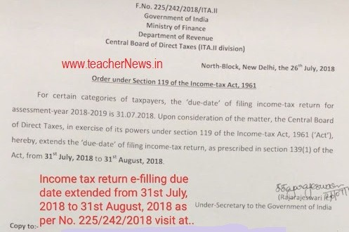 Income Tax Return e Filing Extended Date on 31st August 2019