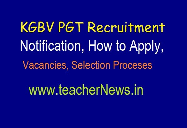 KGBV PGT Recruitment Notification 2019  Apply for KGBV Junior Colleges as Lecturers Vacancies