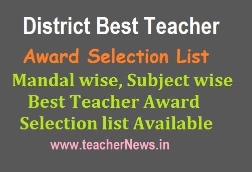 AP District Best Teacher Award List 2019 for AP Teachers | Mandal wise Best Teacher Award Selection list