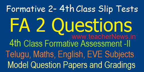 4th Class Formative 2/ FA 2 CCE Model Question Papers/ Slip Tests, Grading Table 2019