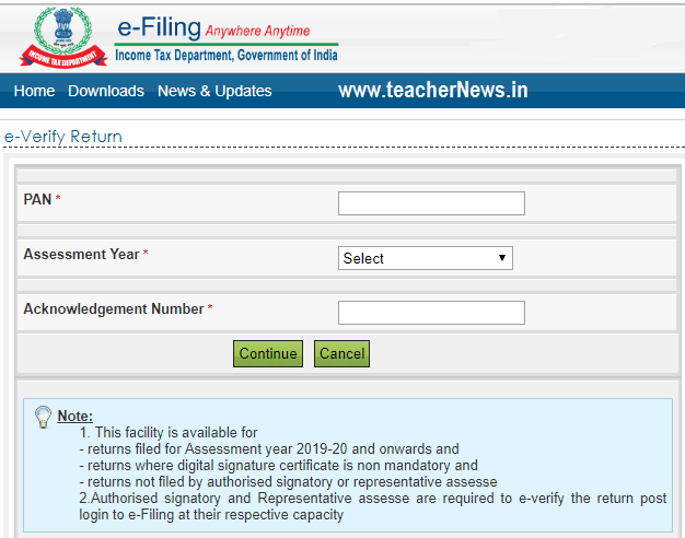 IT E Verify Your ITR Without Login in Telugu in Income Tax Official website 2019-20