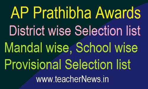 AP Prathibha Awards 2020 District wise Selection list, Mandal wise Provisional Selection list