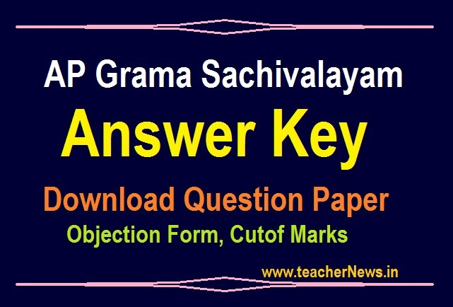 Grama Sachivalayam Answer Key for SET A B C D 2020 - Download Question Paper, Objection Form, Calculation of Marks pdf