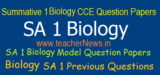 SA 1/ Summative 1 Biology CCE Question Papers 6th, 7th, 8th, 9th, 10th Class Previous Questions