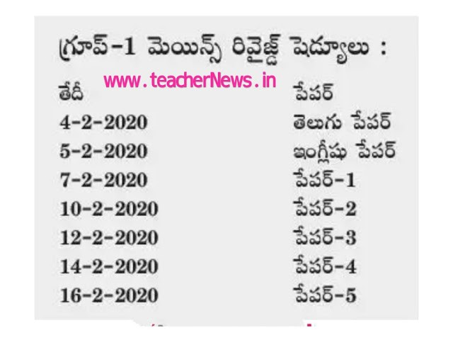 APPSC Group 1 Mains Exam Dates 2020 - ఏపీపీఎస్సీ పరీక్షలు