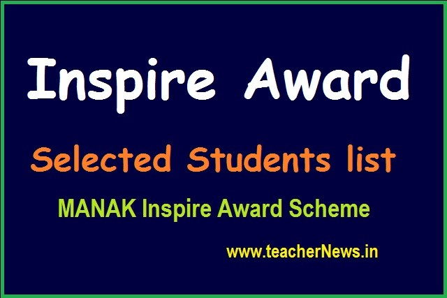 Inspire Award Selection List 2020 - 21 for AP TS Students Names/ Schools list