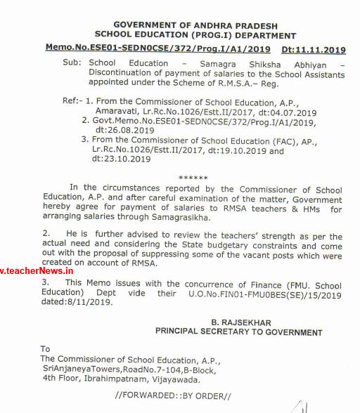 RMSA Teachers Salary Payment through Samagraslkha Memo.No.ESE01