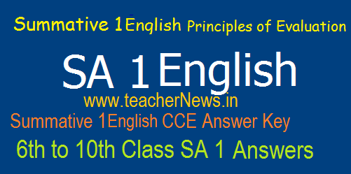 AP Summative 1/ SA 1 English Answers/ Key Sheet 6th, 7th, 8th, 9th, 10th Class Summative 1 Principles of Evaluation