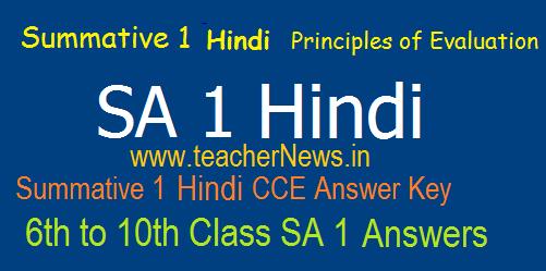 SA 1 Hindi Official Answers/ Key Sheet 6th, 7th, 8th, 9th, 10th Class Nov 2019 | Summative 1 Hindi Principles of Evaluation