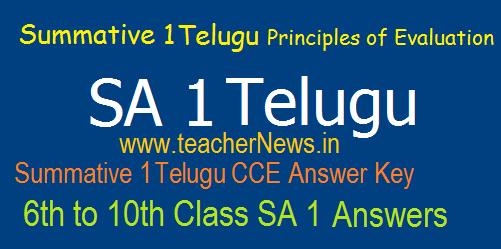 SA 1 Telugu Answers/ Key sheet 6th, 7th, 8th, 9th, 10th Class Summative 1 Principles of Evaluation