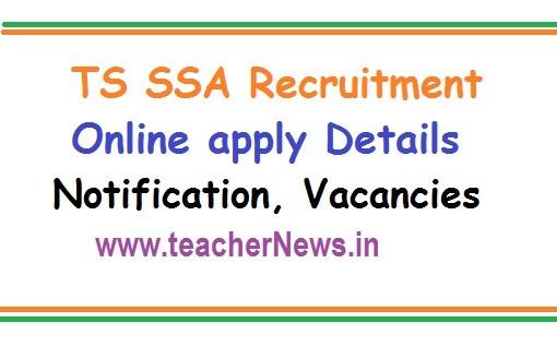 TS SSA Recruitment Online apply Notification 2019 -383 Vacancies