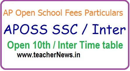 APOSS SSC/ Inter Exam Dates, Open 10th Time table April 2020 | AP Open School Fee last date