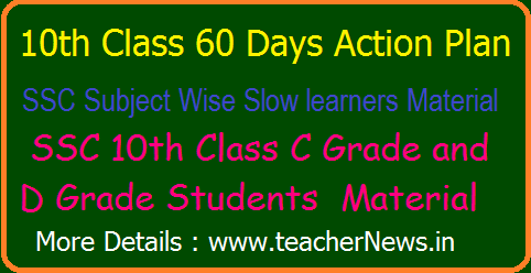 10th Class 100 Days Action Plan for SSC Subject Wise Slow learners Material May 2021