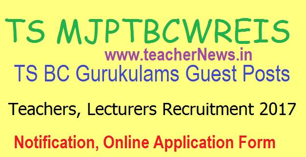 TS MJPTBCWREIS Gurukulam Guest Teachers, Lecturers Posts 2017 Apply last date