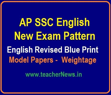 AP 10th Class English Model Papers, Blue Print, SSC English New Weightage 2019-20