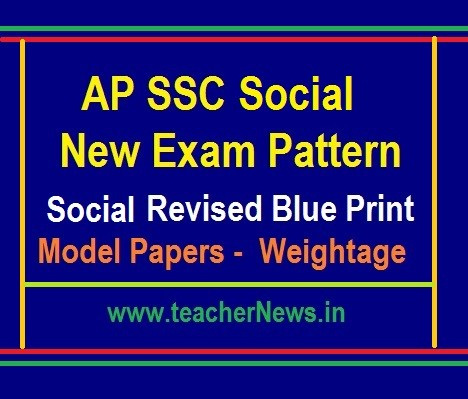 AP 10th Class Social Model Papers, Blue Print - SSC Social New Weightage 2019-20
