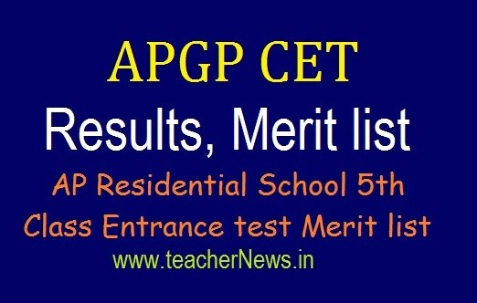 APGPCET Results for 5th Class Admission 2020 | AP Residential 5th Entrance test Merit list apgpcet.apcfss.in