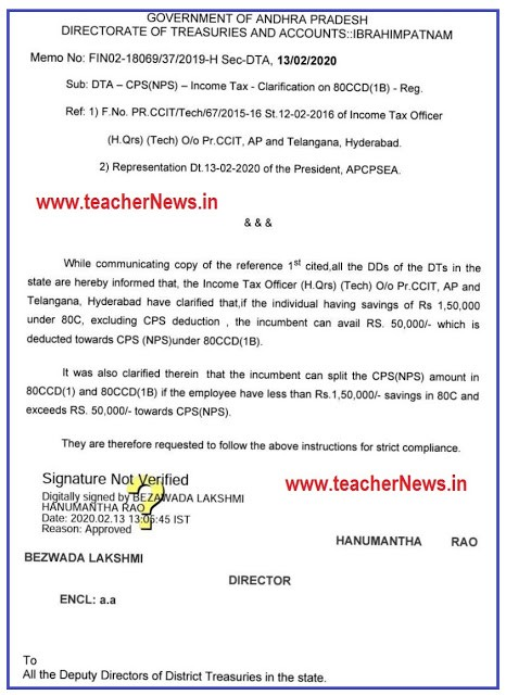 CPS Employees 50000 Deduction in Income Tax 80CCD(1B) - DTA Clarification on 80CCD(1B) FY 2019-20