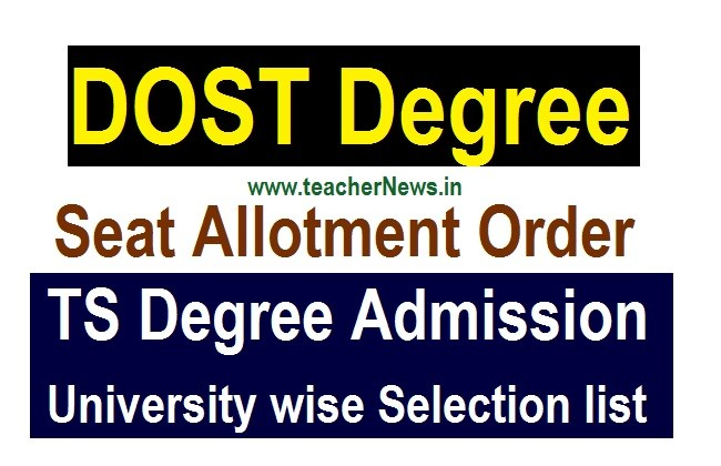 DOST Degree Seat Allotment list for BA BSc B.Com Admission Counselling Letter 2020