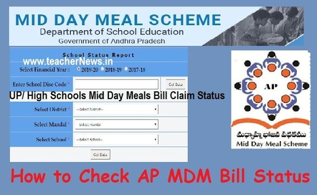 How to Check AP MDM Bill Status 2021 | Jagananna Gorumudda Primary UP/ High Schools Mid Day Meals Bill Claim Status